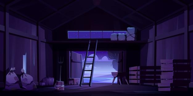 Scheune auf dem bauernhof mit ernte, stroh und heu in der nacht