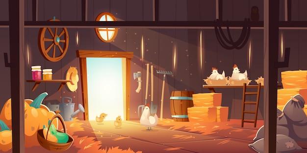 Scheune auf dem bauernhof mit hühnern, stroh und heu