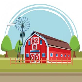 Scheune und windkraftanlage