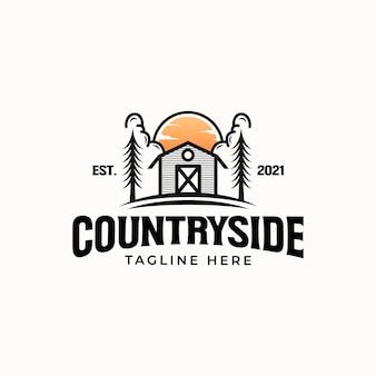 Scheunenlandschaft vintage konzept logo vorlage in weißem hintergrund isoliert