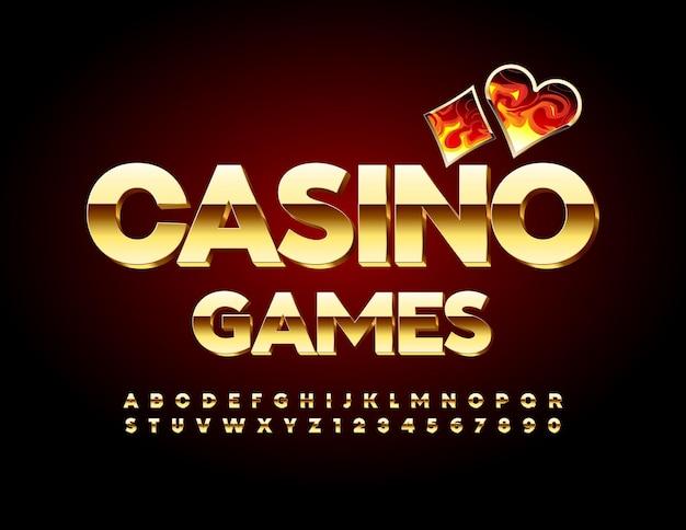Schickes banner casino games premium glänzende schrift gold
