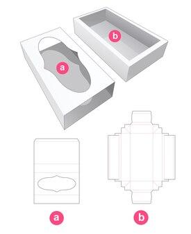 Schiebeverpackung mit deckel mit gestanzter schablone für das kurvenfenster