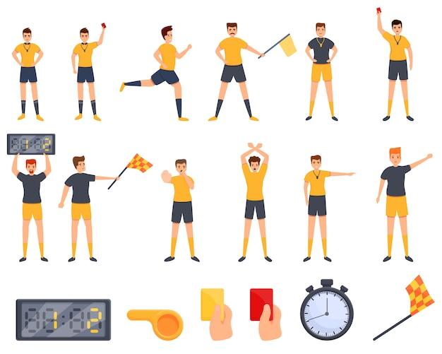Schiedsrichter-symbole festgelegt. karikatursatz der schiedsrichtervektorikonen