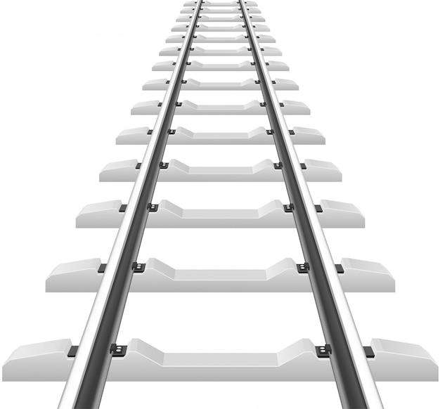 Schienen mit betonschwellenvektorillustration