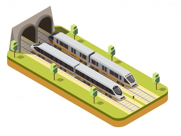 Schienenbus und hochgeschwindigkeits-personenzug, die unter isometrischer zusammensetzung der viaduktbrücke in den eisenbahntunnel einfahren