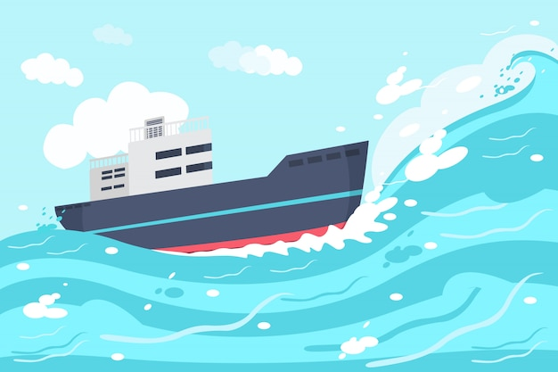 Schiff auf der ozeanillustration