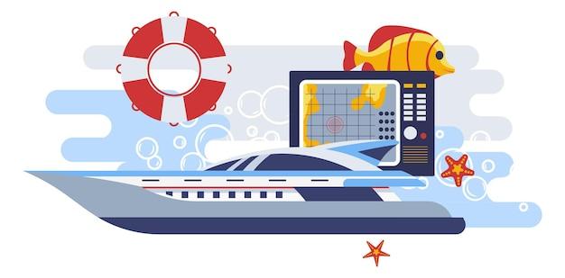 Schiff mit rettungsring und navigationsbildschirm