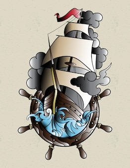Schiff tattoo alte schule