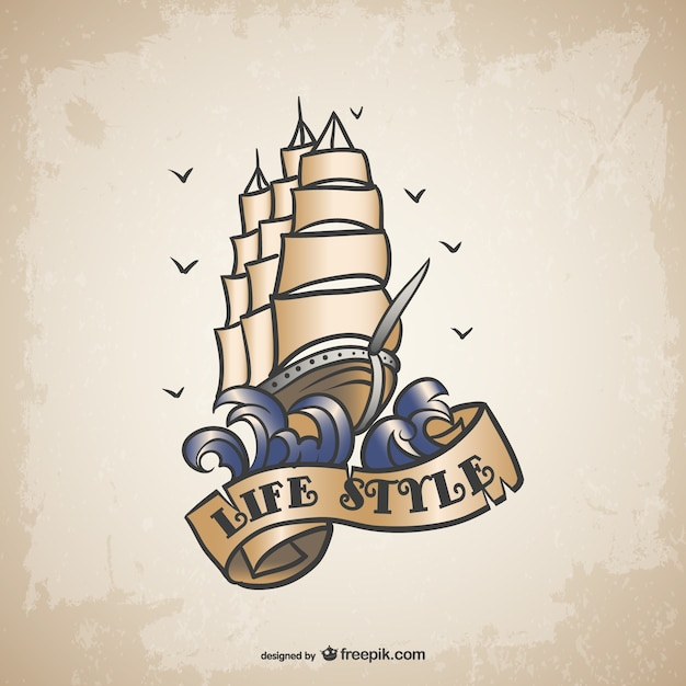 Schiff tattoo-design
