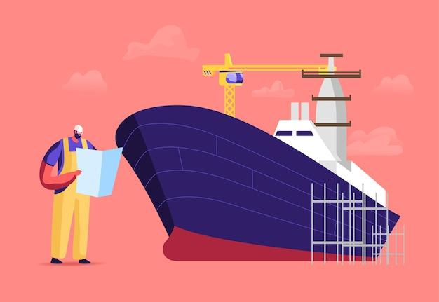 Schiffbau und fertigungsindustrie, schiffbauillustration