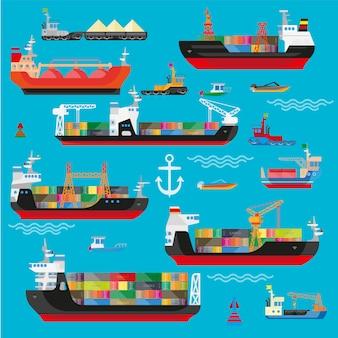 Schiffe, boote, fracht, logistik, transport und versand