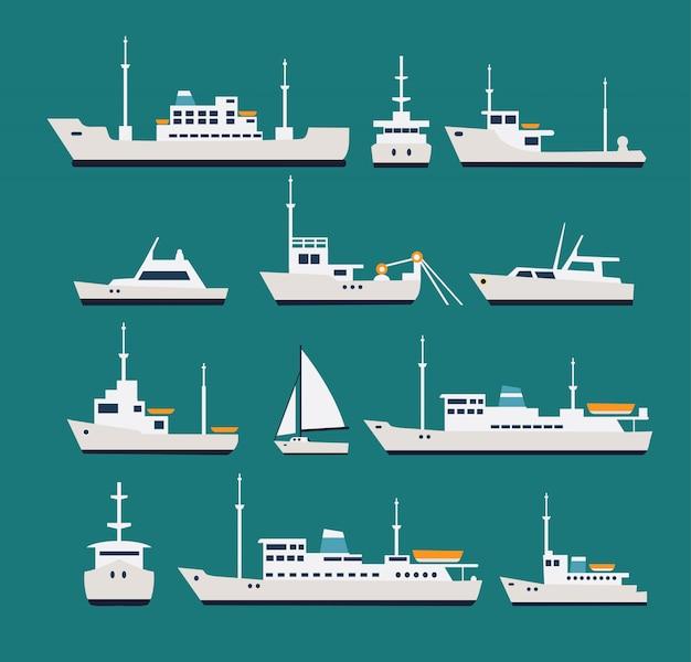 Schiffe flach eingestellt. silhouetten verschiedener boote und yachten