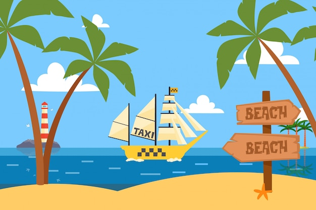 Schiffe in der flasche ozean tropischen taxi service illustration. boot mit großen leichten comic-segeln, transport durch klaren teich