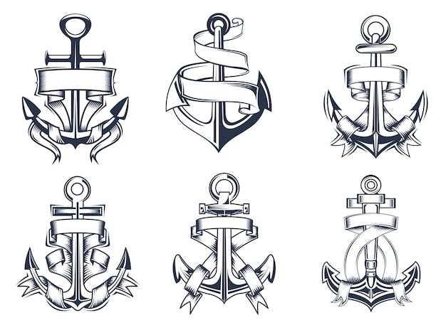 Schiffe mit marine- oder seethema verankern sich mit leeren bandbannern, die um die anker gewickelt sind, illustration