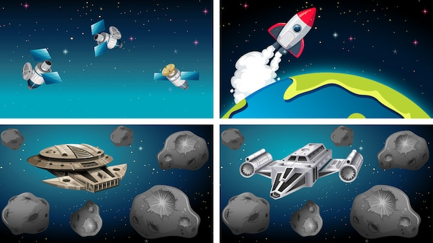 Schiffe und satelliten in szene