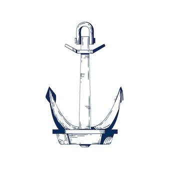 Schiffsanker-vektor-illustration. anker, bootsfestmacher. schiffszubehör, floß in position haltendes element, linerattribut. einfarbige metallkonstruktion isoliert auf weißem hintergrund.