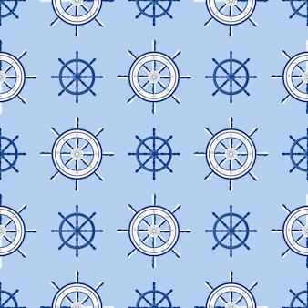 Schiffshelm nahtlose muster marine bootsrad. vector yachtbootsnavigation mit schattenbild der lenkradillustration
