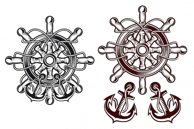 Schiffslenkrad für heraldisches design mit ankern