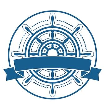 Schiffslenkrad-unternehmensemblem mit der fahne, die auf weißem hintergrund lokalisiert wird. vektor-illustration.