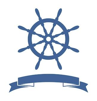 Schiffsrad-banner lokalisiert auf weißem hintergrund. vektor-illustration
