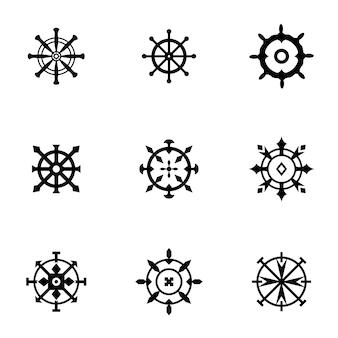 Schiffsrad-vektor-set. einfache darstellung der schiffsradform, bearbeitbare elemente, kann im logo-design verwendet werden