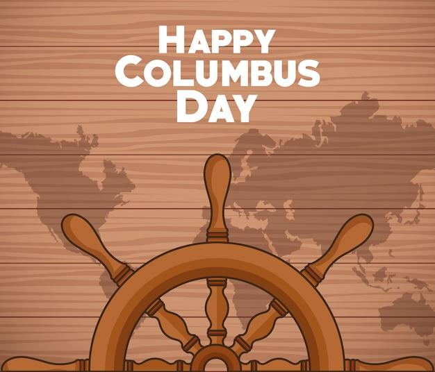 Schiffsruder und happy columbus day design