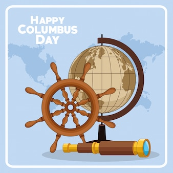 Schiffsruder und happy columbus day design