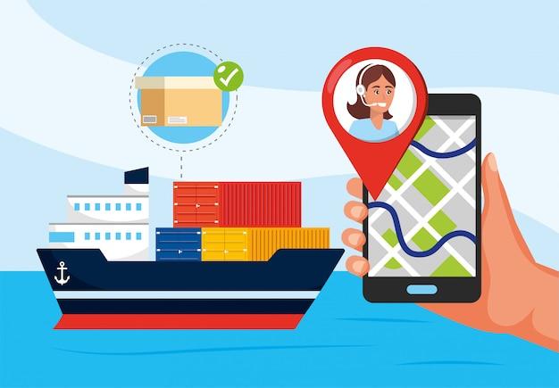 Schiffstransport und hand mit gps-ortung und call-center-service