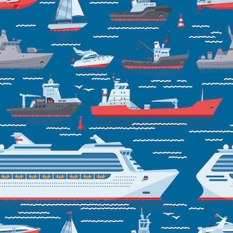 Schiffsvektorboote oder kreuzfahrt, die in ozean- oder seeverkehrstransport reisen