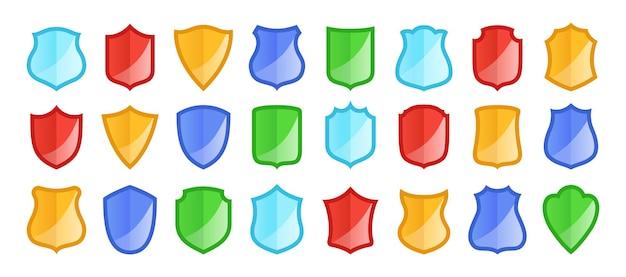 Schild-abzeichen-icon-set medizinischer gesundheitsschutz schild-form-zeichen