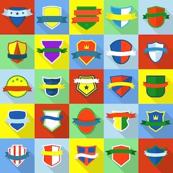 Schild abzeichen icons set. flache illustration von 25 schild ausweisikonen für web