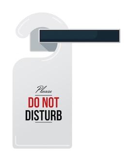 Schild am türgriff nicht stören. isolierte hotelzimmer geschlossene tür kleiderbügel tag mit bitte nicht sms stören. vektor datenschutz warnzeichen