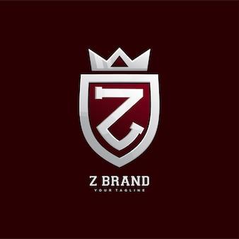 Schild emblem mit krone, buchstabe z logo