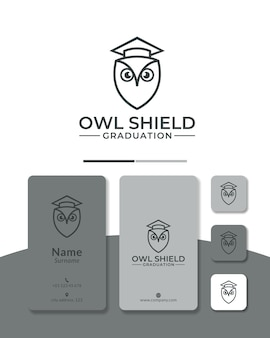 Schild-eulen-abschluss-logo-design für die bildungsschule