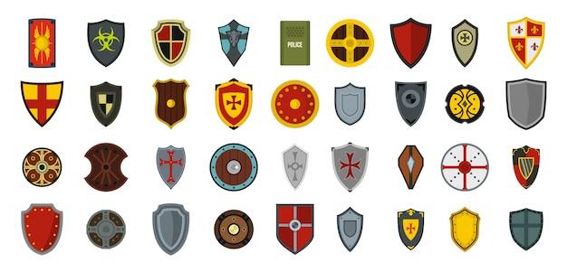 Schild-icon-set. flacher satz der schildvektor-ikonensammlung lokalisiert