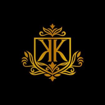 Schild kk monogramm brief logo mit blatt blumenrand geschnitzten rahmen
