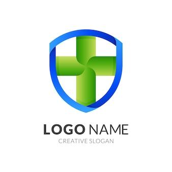 Schild klinik logo, schild und plus, kombinationslogo mit 3d blau und grün farbe