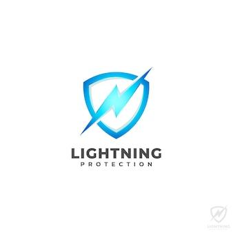 Schild-logo mit blitzschutz