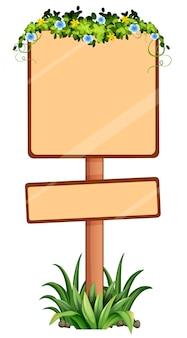 Schild mit blumen an der spitze