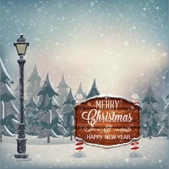 Schild mit weihnachtsgruß laterne winterlandschaft mit schneeflocken vektor-illustration