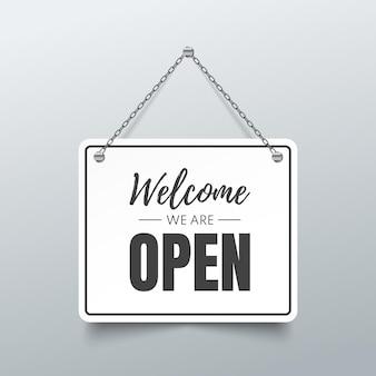 Schild öffnen. willkommen, wir sind ein offenes zeichen. illustration