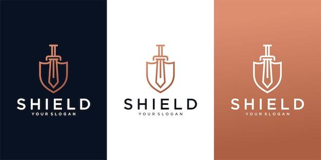 Schild schwert linie logo