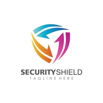 Schild-sicherheit mit pfeil-form logo template