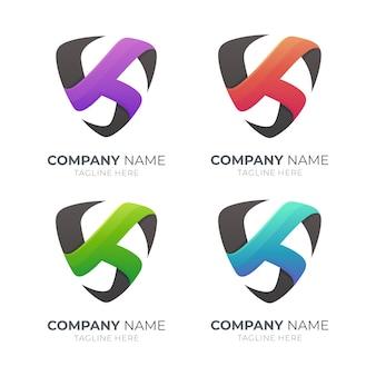 Schildbuchstabe k logo in verschiedenen farben