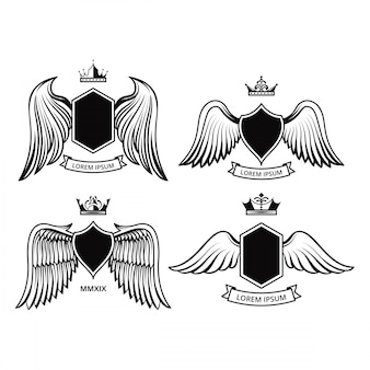 Schilddesign mit flügel-vektor-sammlungen