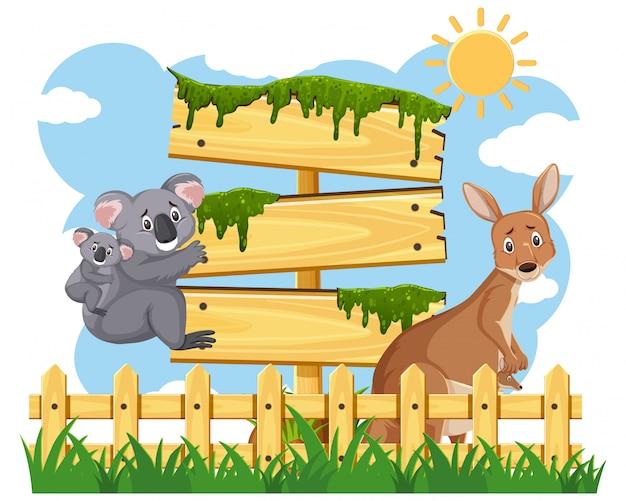 Schilder aus holz mit australischen tieren im park
