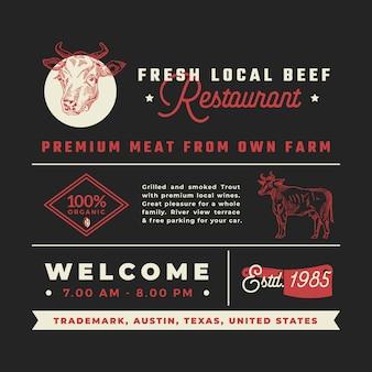 Schilder, titel, inschriften und menüdekorationselemente für frisches lokales rindfleischrestaurant.
