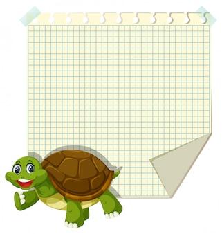 Schildkröte auf leere notiz