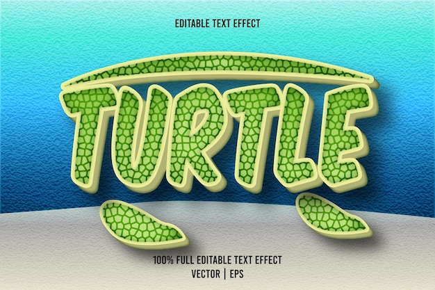 Schildkröte bearbeitbarer texteffekt 3-dimensionaler präge-cartoon-stil