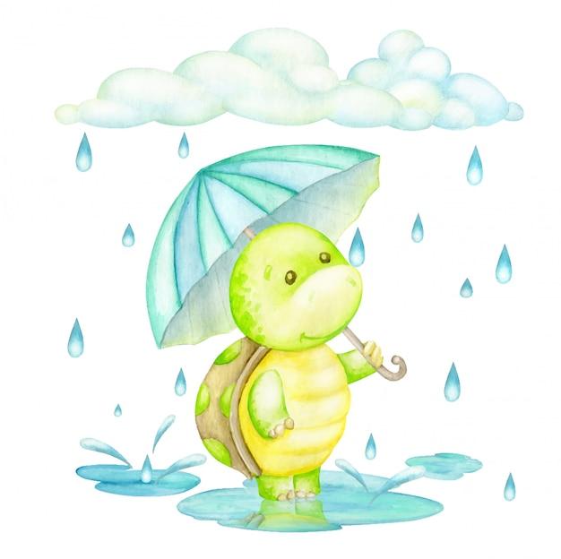 Schildkröte, die mit einem regenschirm im regen steht. aquarellkonzept im karikaturstil.